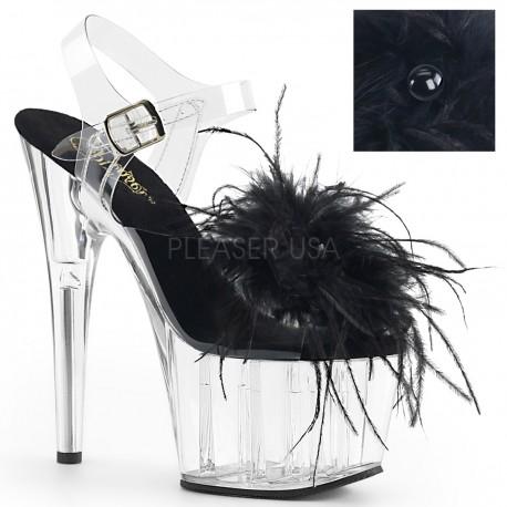 Saboti transparenti pene papuci cu toc inalt dansatoare ADORE 708 MF