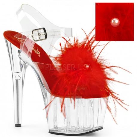Sandale transparente rosii pene papuci cu toc inalt dansatoare ADORE 708 MF