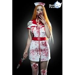 Costum Asistenta Zombie rochie halloween sange horror teatru 0015