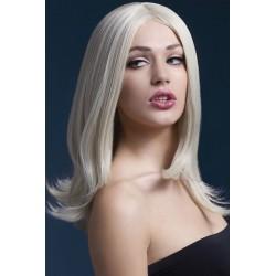 Peruca Tunsoare fara breton par blond platinat lung teatru