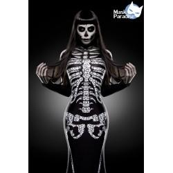 Costum Lady Schelet rochie halloween gotic accesorii teatru 0003