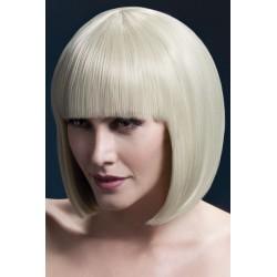 Peruca par cu breton par mediu culoare blond platinat ELISE
