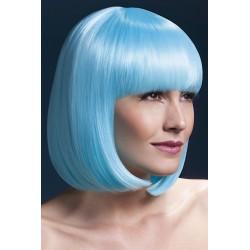 Peruca par cu breton par mediu culoare bleu neon ELISE