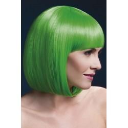 Peruca par cu breton par mediu culoare verde neon ELISE