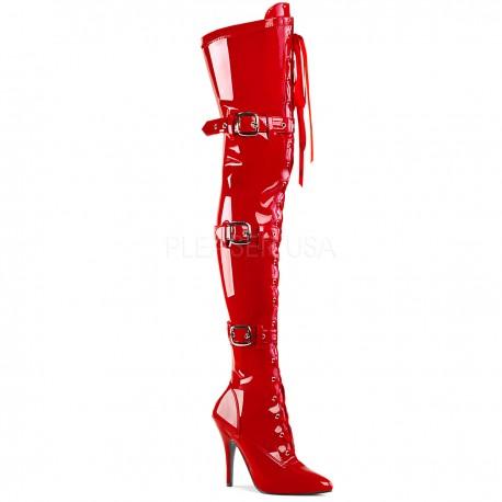 Cizme peste genunchi rosii cu catarme stiletto marimi mari SEDUCE 3028