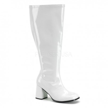 Cizme albe cu toc gros marimi mari largi sub genunchi GOGO 300X