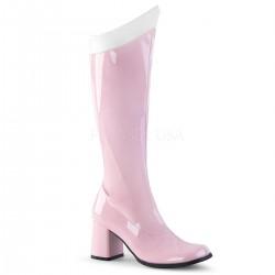 Cizme roz cu toc gros sub genunchi GOGO 306