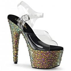 Sandale cu toc inalt platforma cu pietre papuci dansatoare BEJEWELED 708 MS