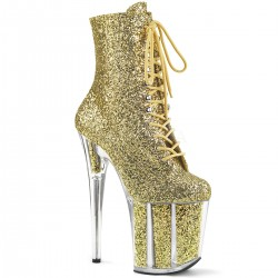 Botine aurii cu toc inalt papuci dans la bara dansatoare FLAMINGO 1020 G