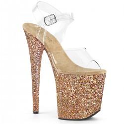 Sandale roz platforma inalta papuci toc inalt animatoare sexy club FLAMINGO 808 LG