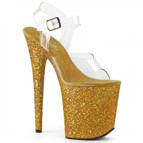 Sandale cu platforma aurie inalta papuci cu toc inalt dansatoare FLAMINGO 808 LG