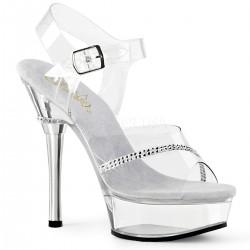 Sandale de mireasa marimi mari transparente papuci toc inalt ALLURE 608 R