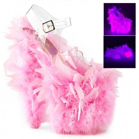 Saboti transparenti pene papuci cu toc inalt dansatoare FLAMINGO 808 F Roz