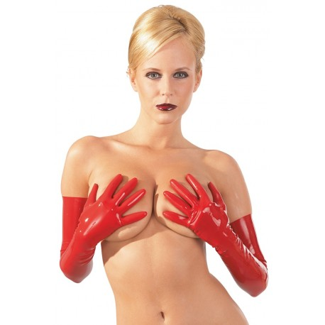 Manusi latex rosii aspect ud latex lenjerie erotica wetlook