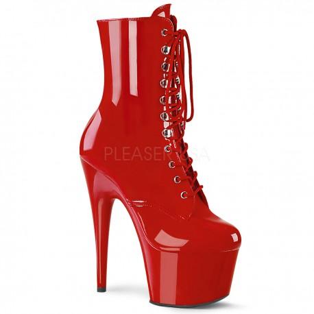 Botine rosii cu platforma inalta papuci cu toc inalt de club ADORE 1020 Piele