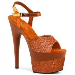 Sandale rosii cu toc inalt papuci dans la bara ADORE 709 2 G Argintii