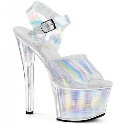 Sandale cu toc inalt SKY 308 n-crhm argintii marimi mari