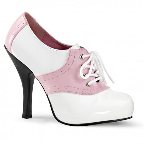 Pantofi gangster alb roz accesorii teatru SADDLE 48