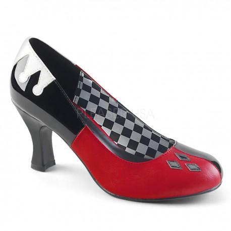 Pantofi toc mediu negru rosu arlechin accesorii teatru HARLEY 42