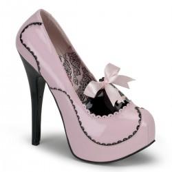 Pantofi stil bordello retro toc inalt roz TEEZE 01