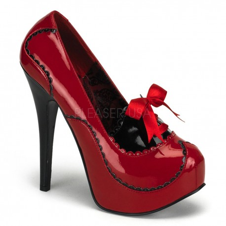 Pantofi stil bordello retro toc inalt rosu TEEZE 01