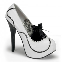 Pantofi stil bordello retro toc inalt alb negru TEEZE 01