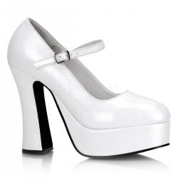 Pantofi albi demonia stil gotic marimi mari DOLLY 50