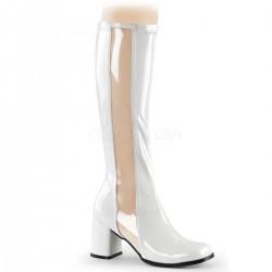 Cizme albe cu toc gros sub genunchi mulate GOGO 303