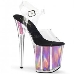 Sandale cu toc inalt piele intoarsa dansatoare holograma FLAMINGO 808 HGI