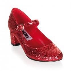 Pantofi SCHOOLGIRL eleva scolarita toc gros rosii recuzita teatru retro 50