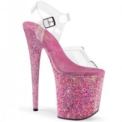 Sandale roz papuci toc inalt hostess dansatoare FLAMINGO 808 CF