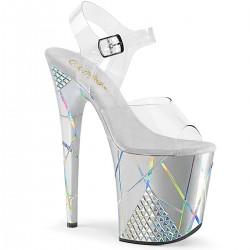 Sandale argintii toc inalt papuci dans la bara FLAMINGO 808 SHAPE 1