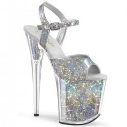 Sandale FLAMINGO 809 HS argintii toc inalt papuci dansatoare hostess
