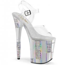 Sandale argintii toc inalt papuci dans la bara FLAMINGO 808 SHAPE 2