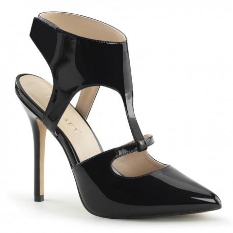Sandale stiletto cu toc inalt marimi mari comode AMUSE 19 Negru