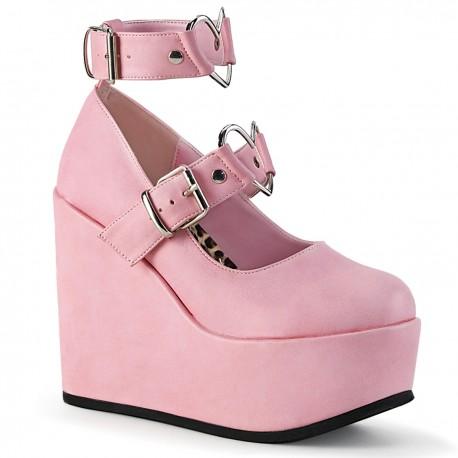 Pantofi POISON 99-2 gotic roz demonia talpa ortopedica