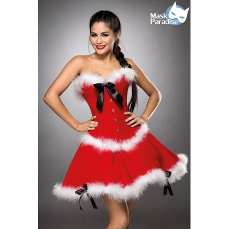 Costum Miss Santa rochie craciunita rosie catifea 0019
