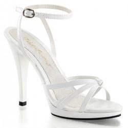 Sandale albe toc inalt marimi mari FLAIR 436