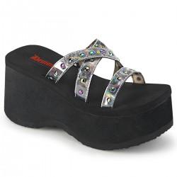 Sandale demonia stil gotic talpa lata piele FUNN 19