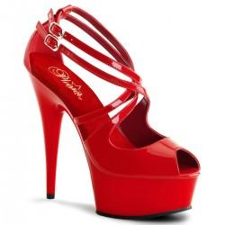 Sandale toc inalt comode marimi mari rosii DELIGHT 612