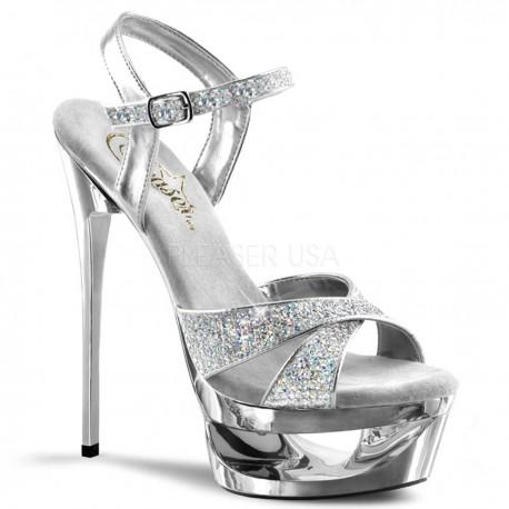 Sandale cu toc inalt dansatoare de club ECLIPSE 619 G Argintiu