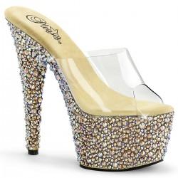 Saboti cu toc inalt papuci dansatoare de nunta BEJEWELED 701 MS