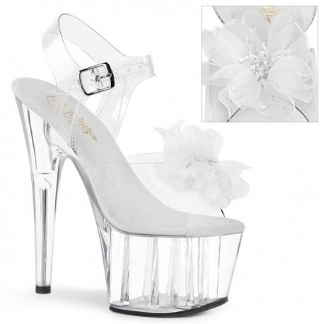 Sandale albe toc inalt dansatoare papuci animatoare ADORE 708 BFL