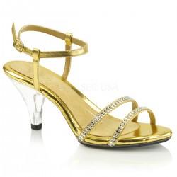 Sandale aurii marimi mari cu toc mic BELLE 316