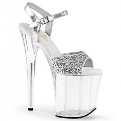 Sandale argintii dansatoare papuci cu toc inalt FLAMINGO 810