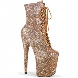Botine toc inalt glitter papuci dansatoare FLAMINGO 1020 GWR